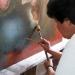 Nayarit...restauran óleo de la Santísima Trinidad del siglo XVIII